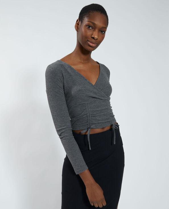 Crop top portefeuille côtelé gris - Pimkie