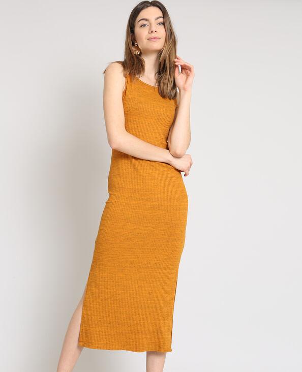Robe longue moulante brun