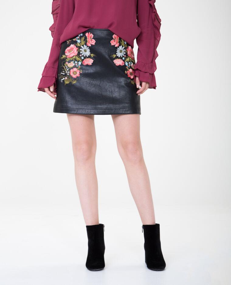 f594cbbfba131e Mini jupe en simili cuir brodée
