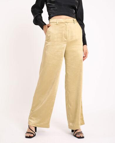Pantalon large satiné doré