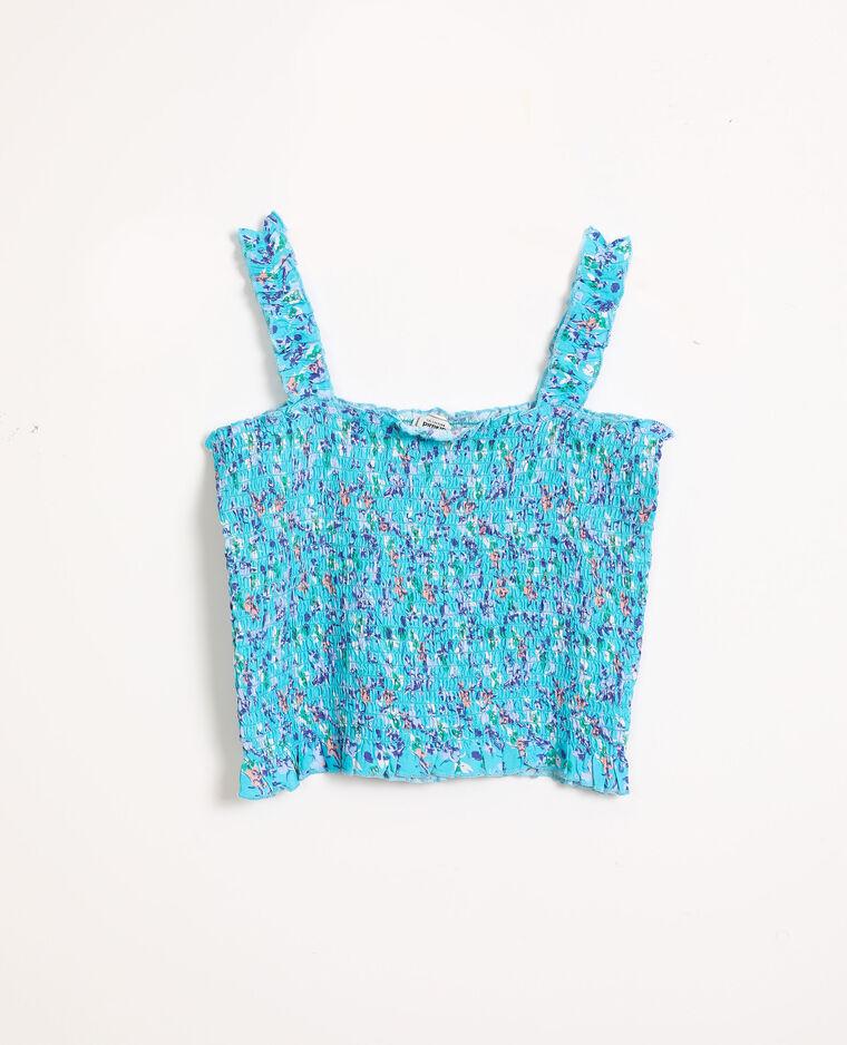 Cropped top en smock bleu turquoise