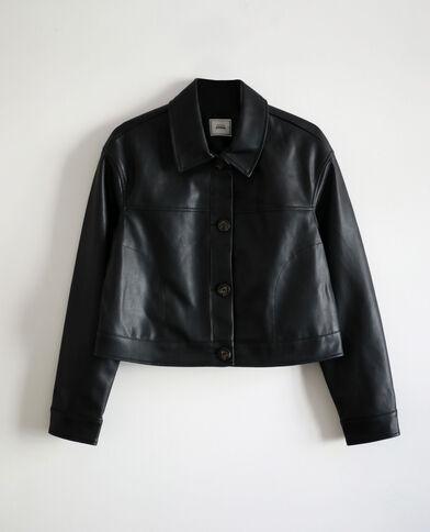 Veste courte en faux cuir noir