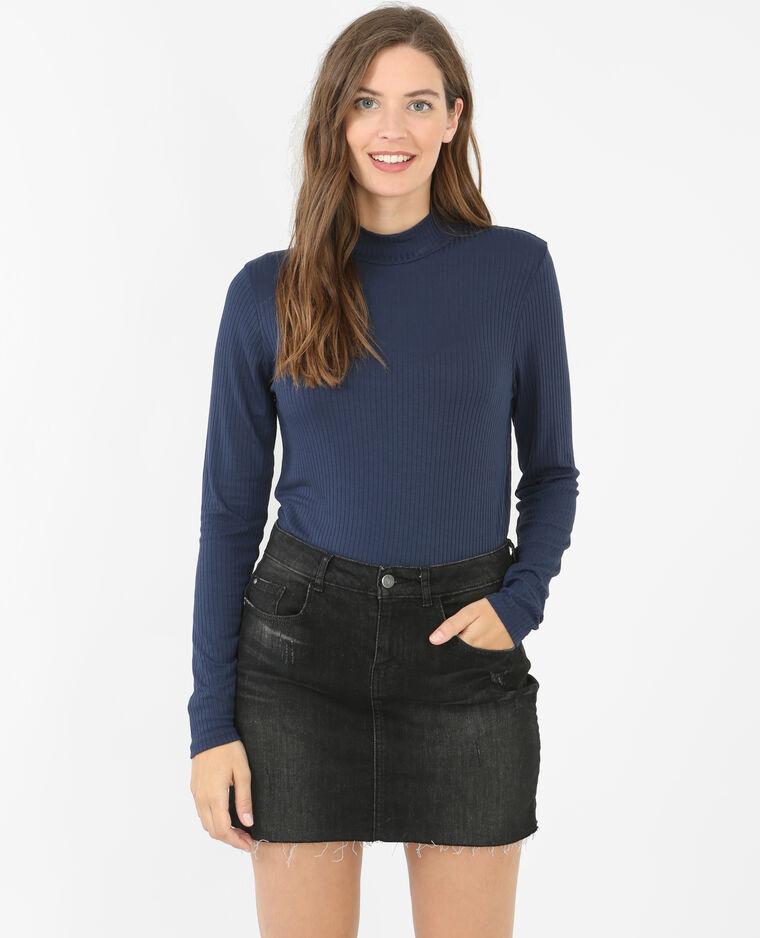 cb606767f3ec0 T-shirt côtelé col montant bleu marine - 473050635A06   Pimkie