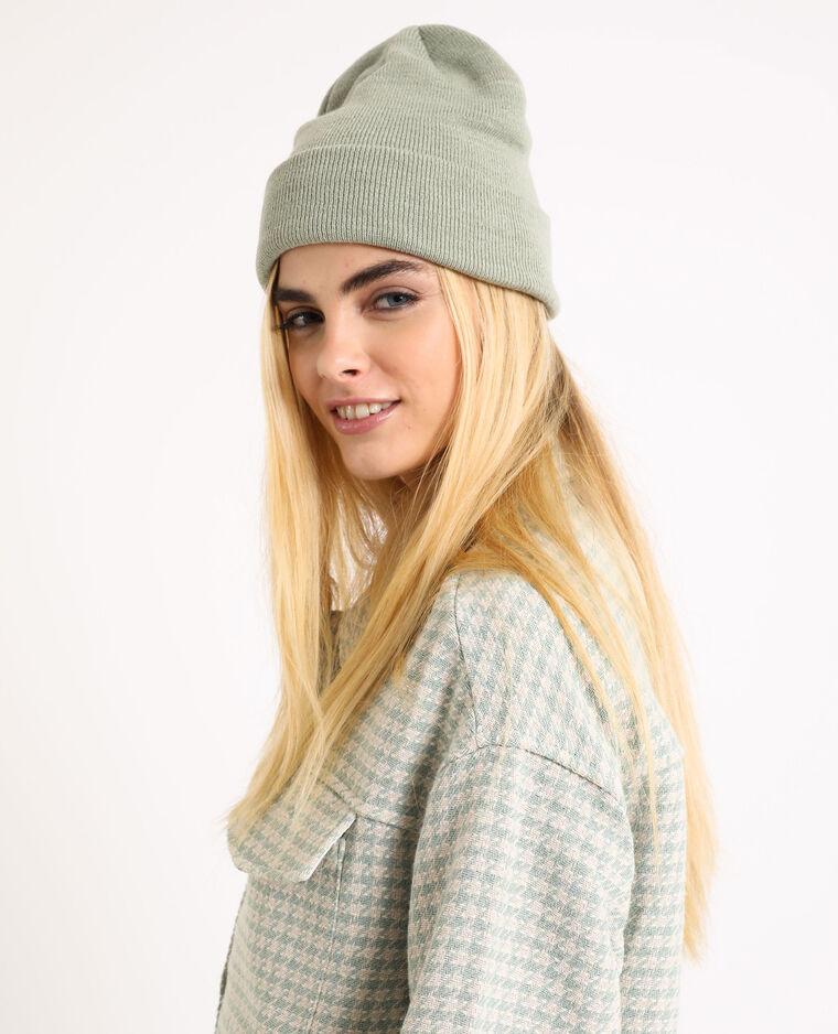Bonnet en maille vert
