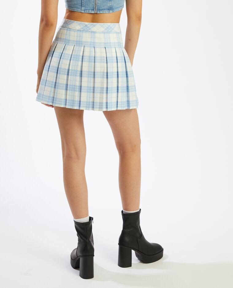 Jupe plissée à carreaux bleu - Pimkie