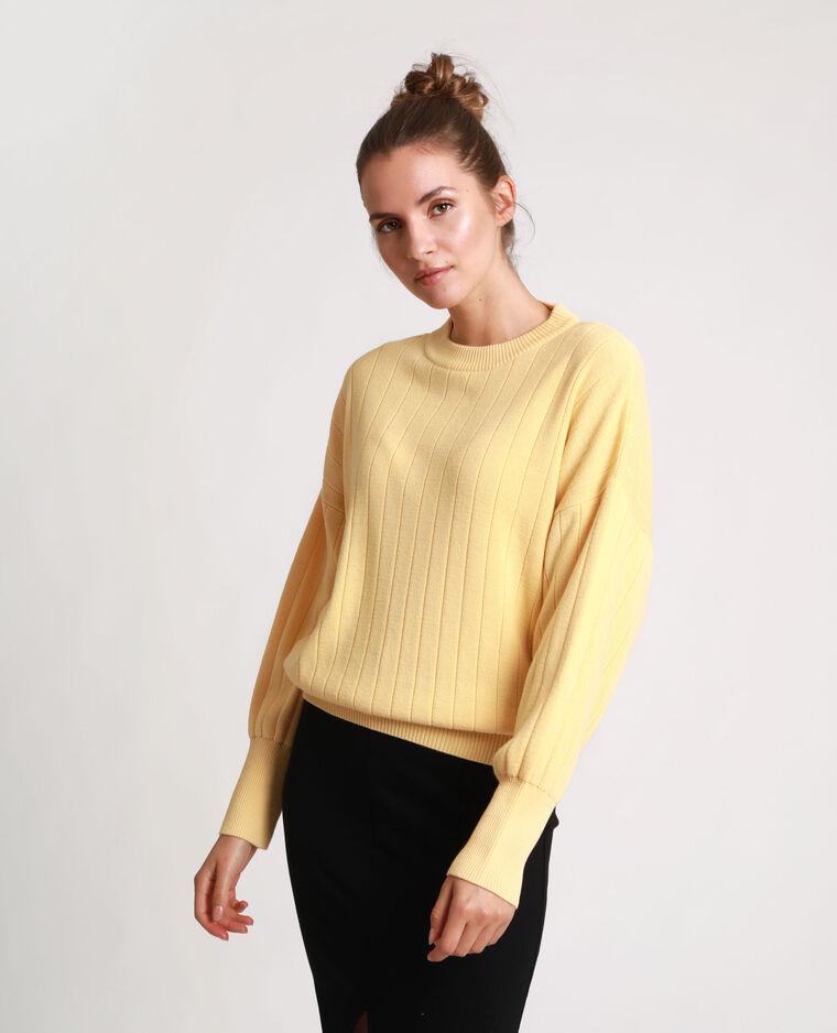 Pull strié jaune
