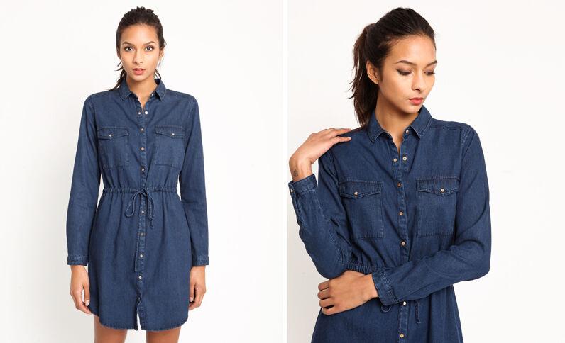 Robe en jean bleu foncé