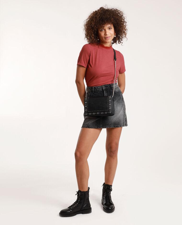Jupe en jean et à strass gris foncé