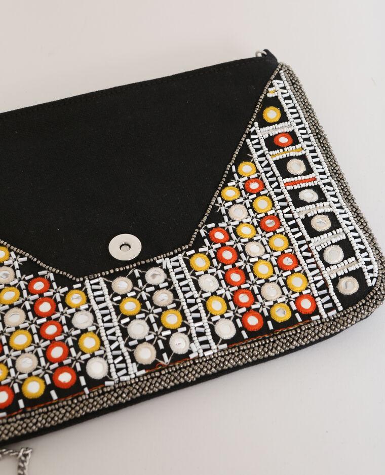 Sac pochette à perles noir