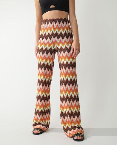 Pantalon wide leg en crochet chevrons rouille - Pimkie
