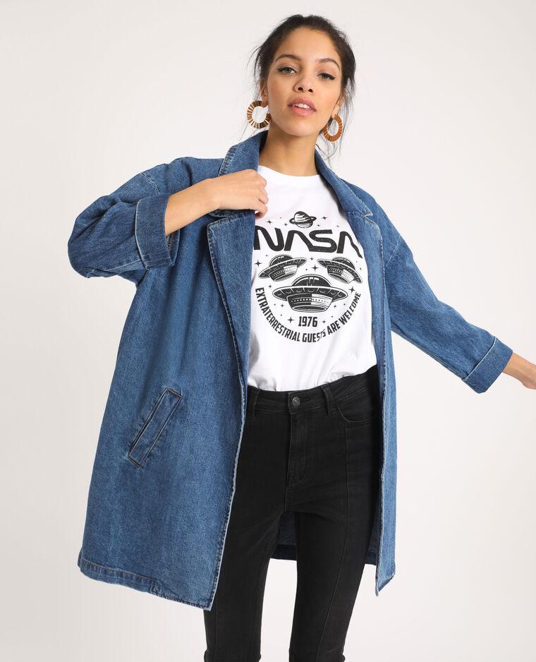 Manteau long en jean bleu denim