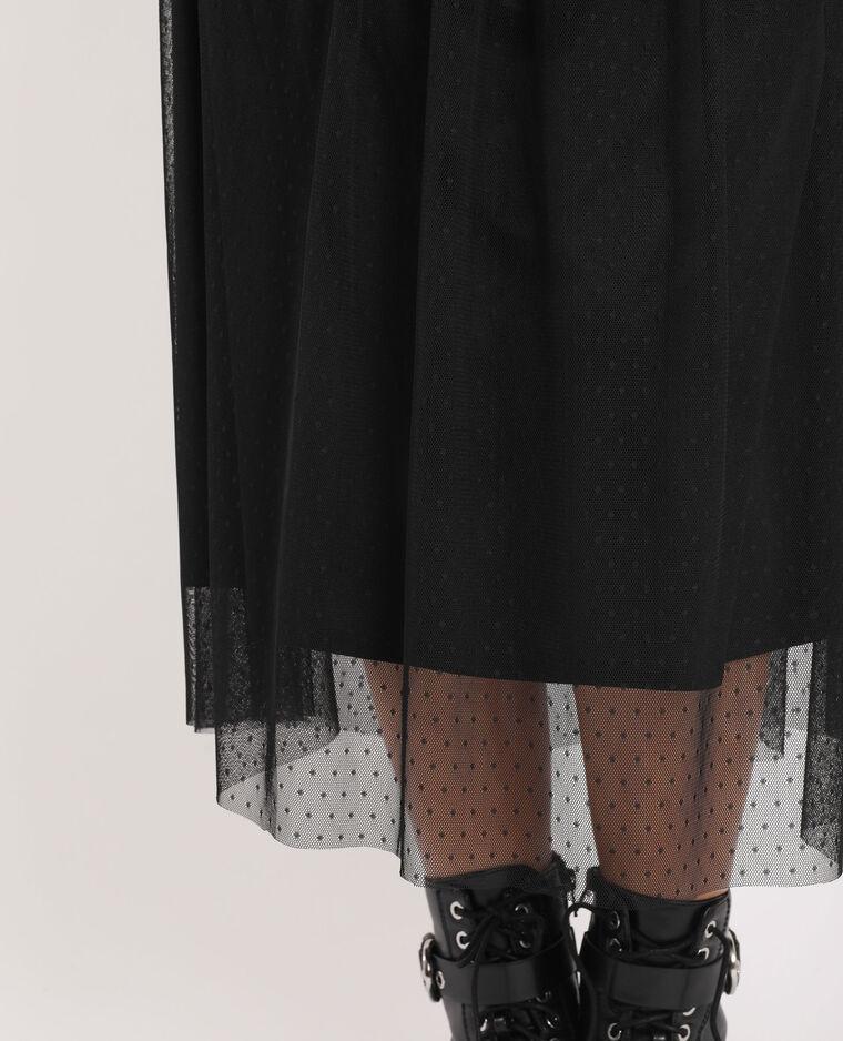 Jupe longue à plumetis noir