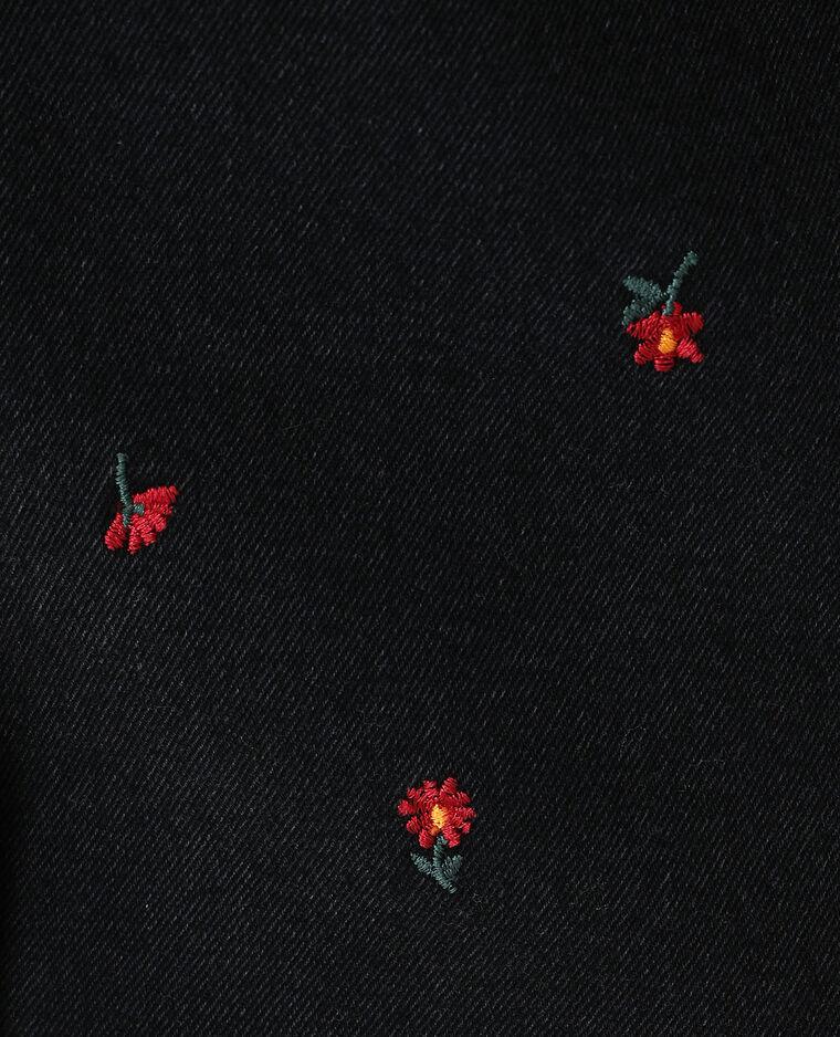 Jupe en jean à fleurs noir