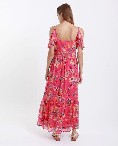 Robe longue épaules nues rose