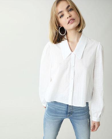 Chemise à motifs fantaisie et à maxi col blanc cassé