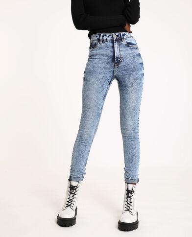 Jean skinny high waist bleu délavé