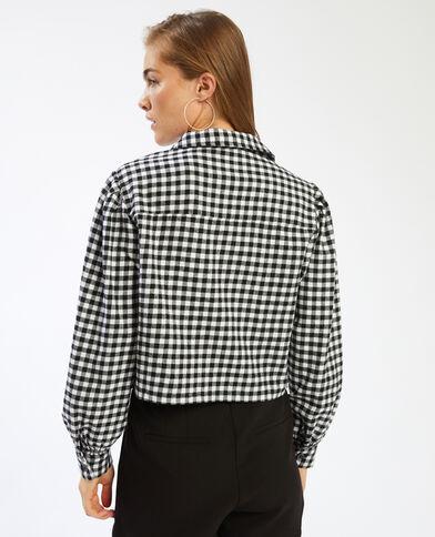 Chemise courte motif vichy blanc - Pimkie