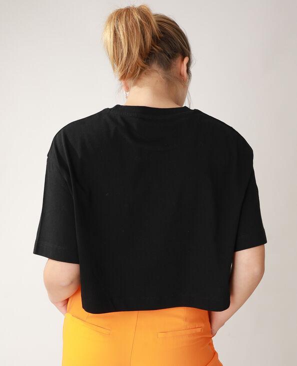T-shirt cropped motifs mains et fleurs noir