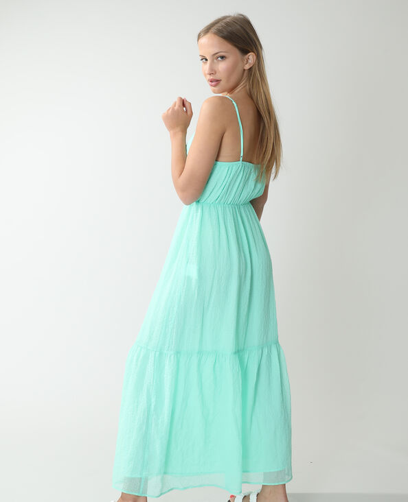 Robe longue gaufrée vert aqua - Pimkie