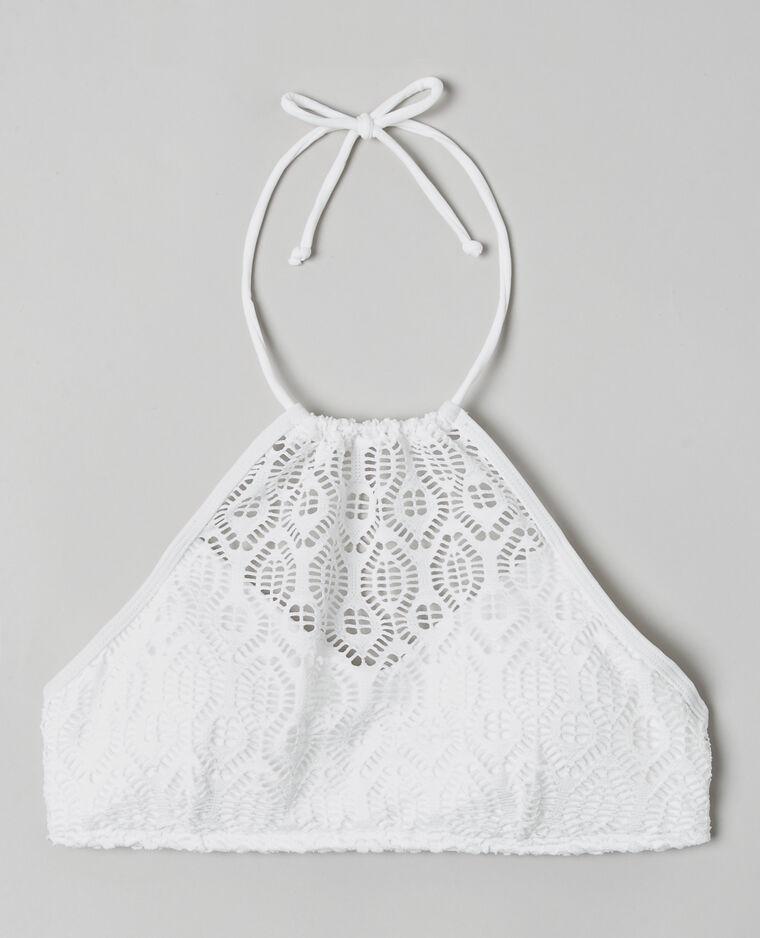 Haut de maillot de bain brassière crochet écru