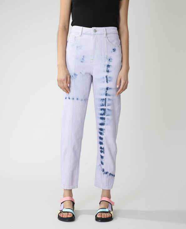 Jean mom high waist tie and dye bleu denim - Pimkie