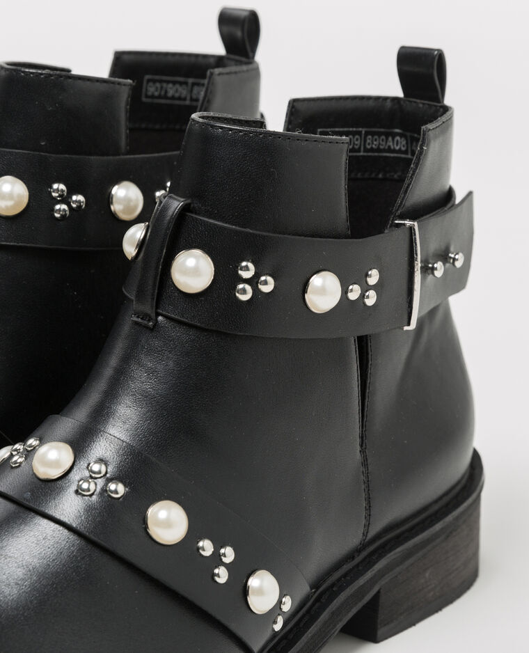 bottine noir bride perle femme