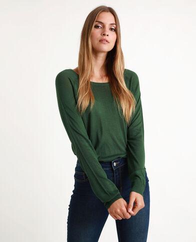 Pull maille fine vert