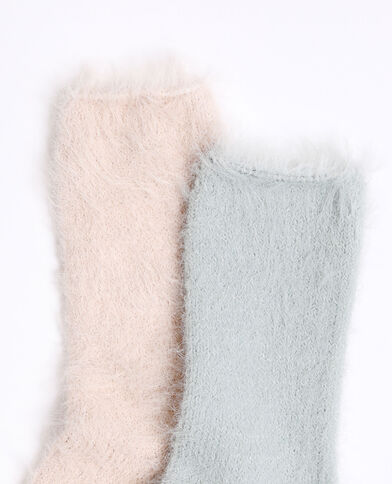 Chaussettes fluffy rose