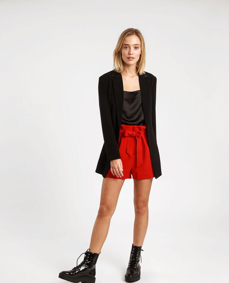 Short taille haute rouge