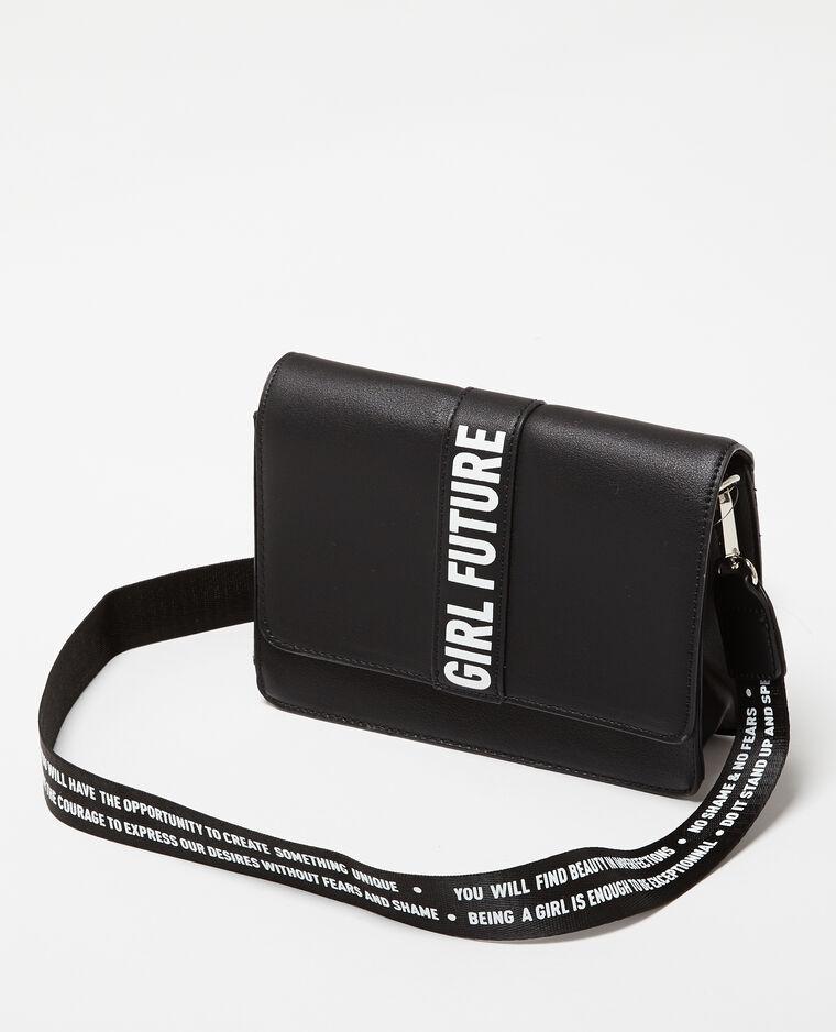 Petit sac trapèze à message noir