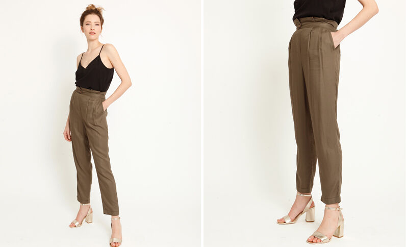 Pantalon fluide à pinces vert