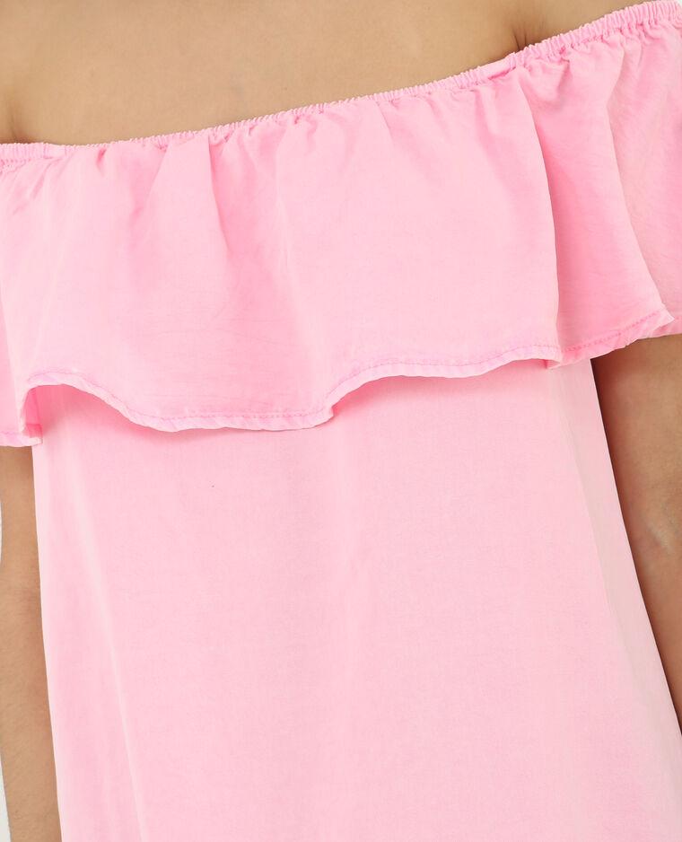 Robe volant bardot rose fluo