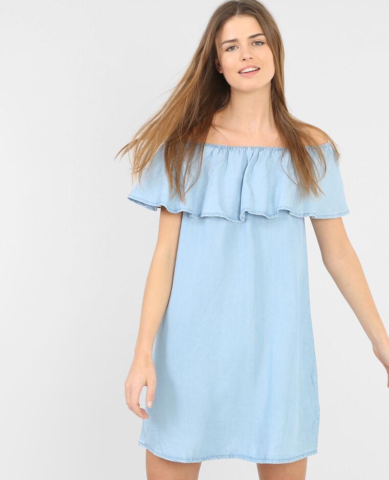 780404b21a06Pimkie Bleu Robe Volantée Denim Clair N0OkP8nwX