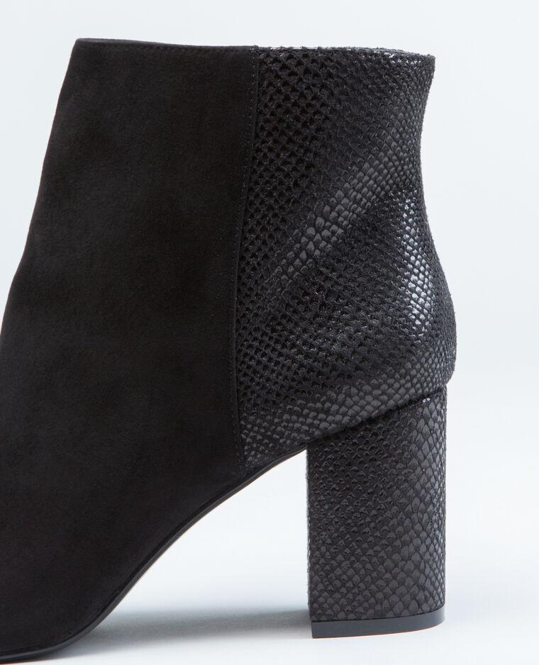 Boots effet python noir