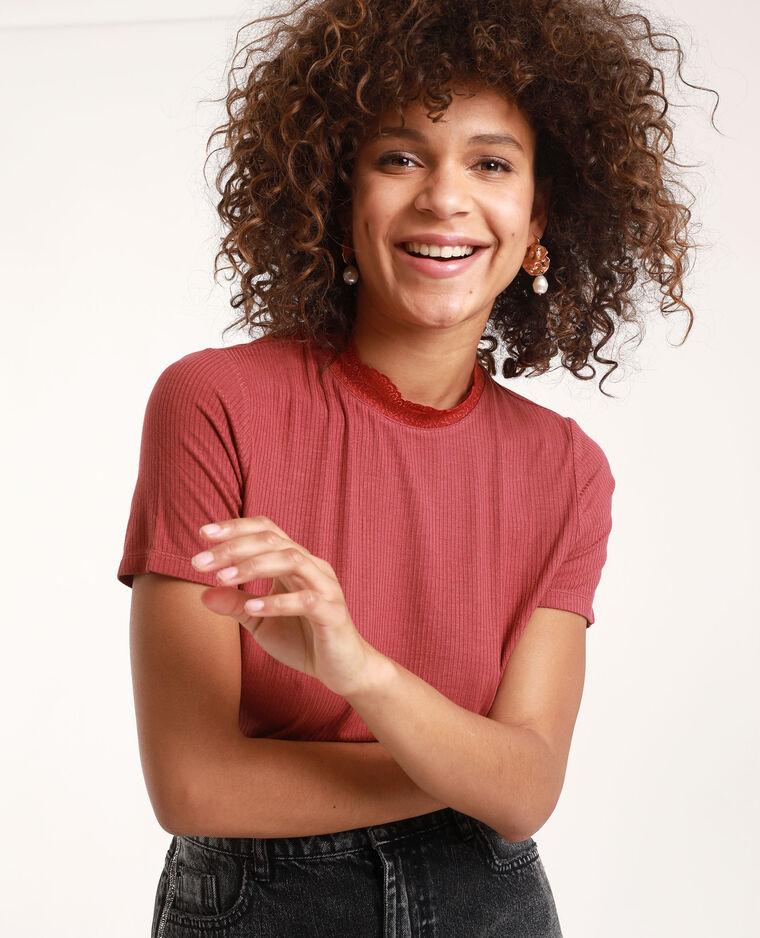 T-shirt à manches courtes bordeaux