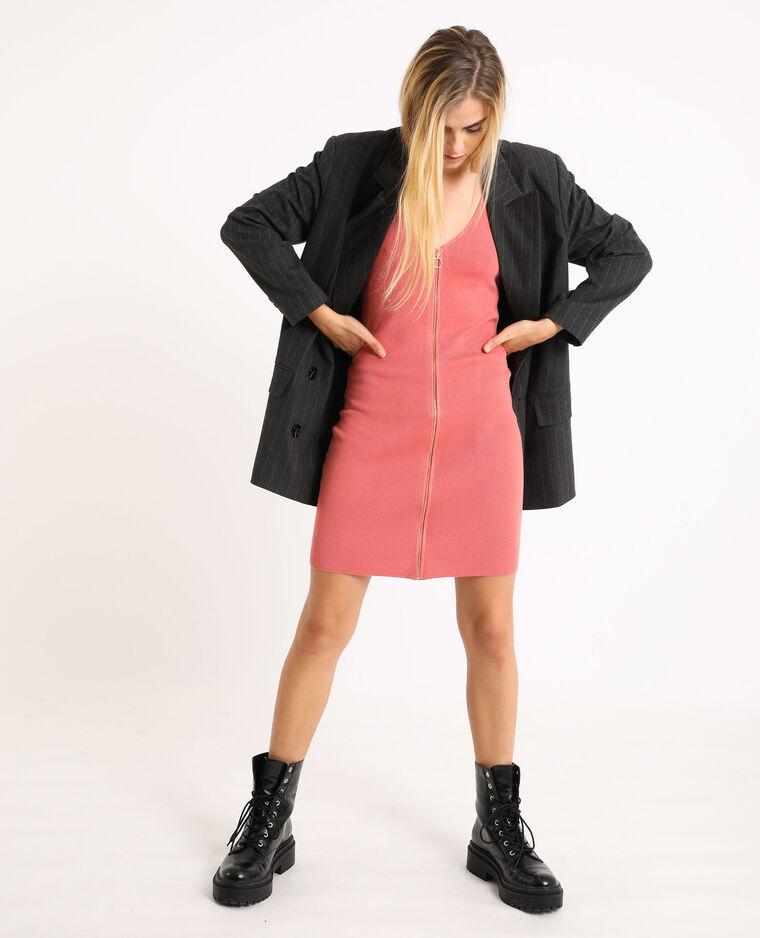 Robe bodycone zippée rose pâle
