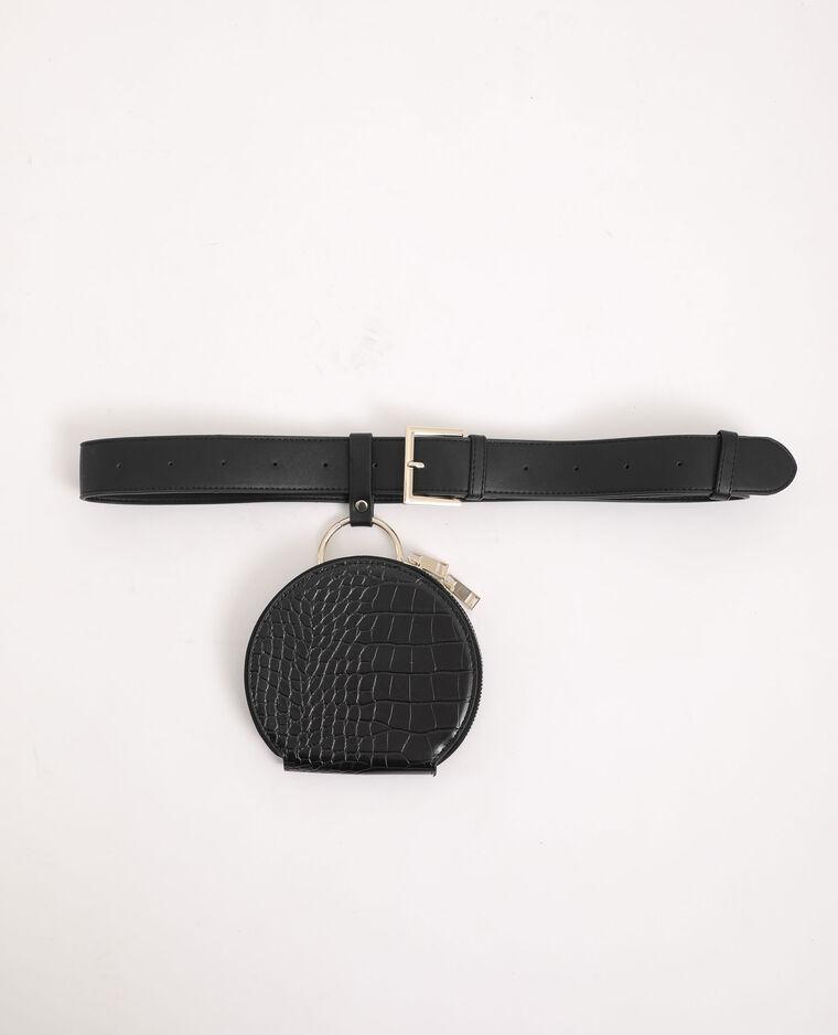 Pochette ronde avec bandoulière noir