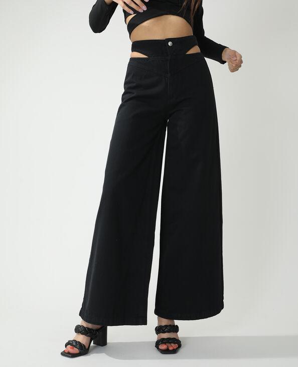 Jean wide leg high waist avec découpes noir - Pimkie