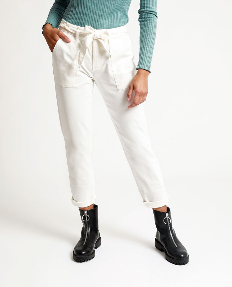Pantalon droit high waist écru