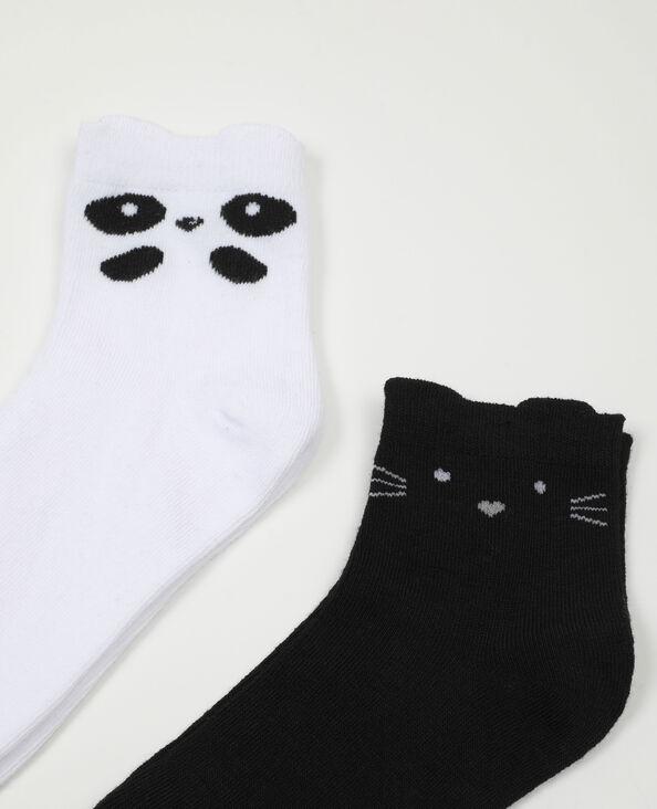 Lot de 2 paires de chaussettes animaux noir - Pimkie
