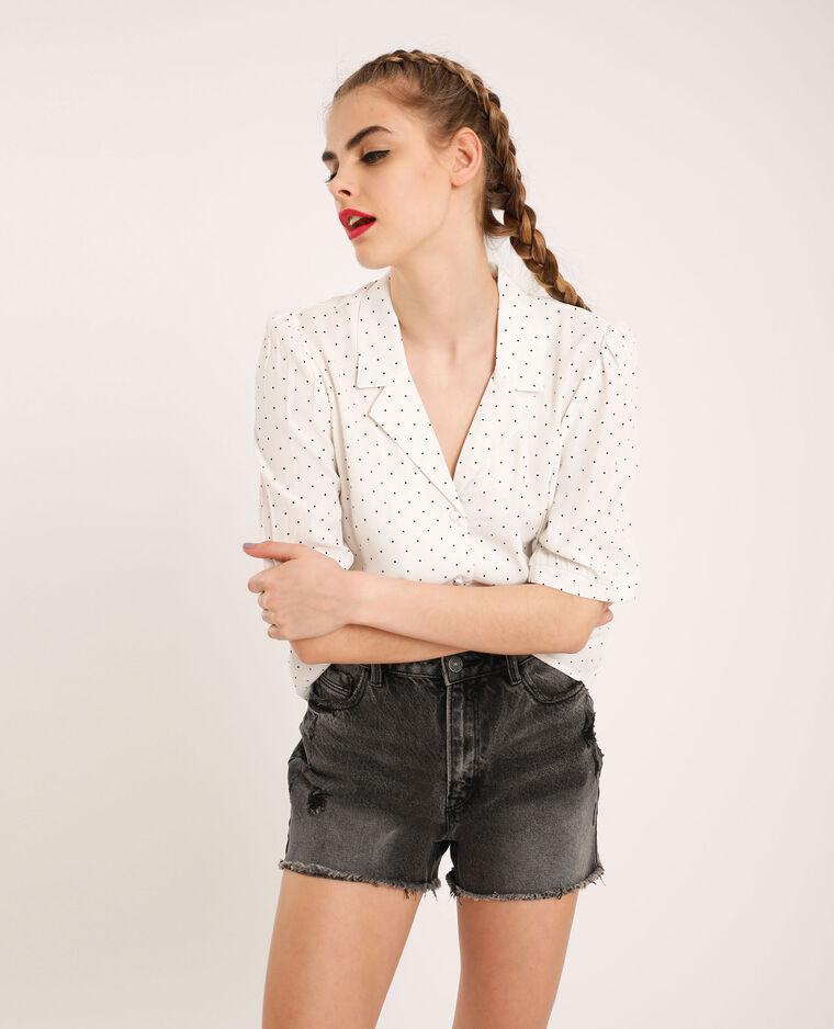 Chemise courte à pois blanc cassé