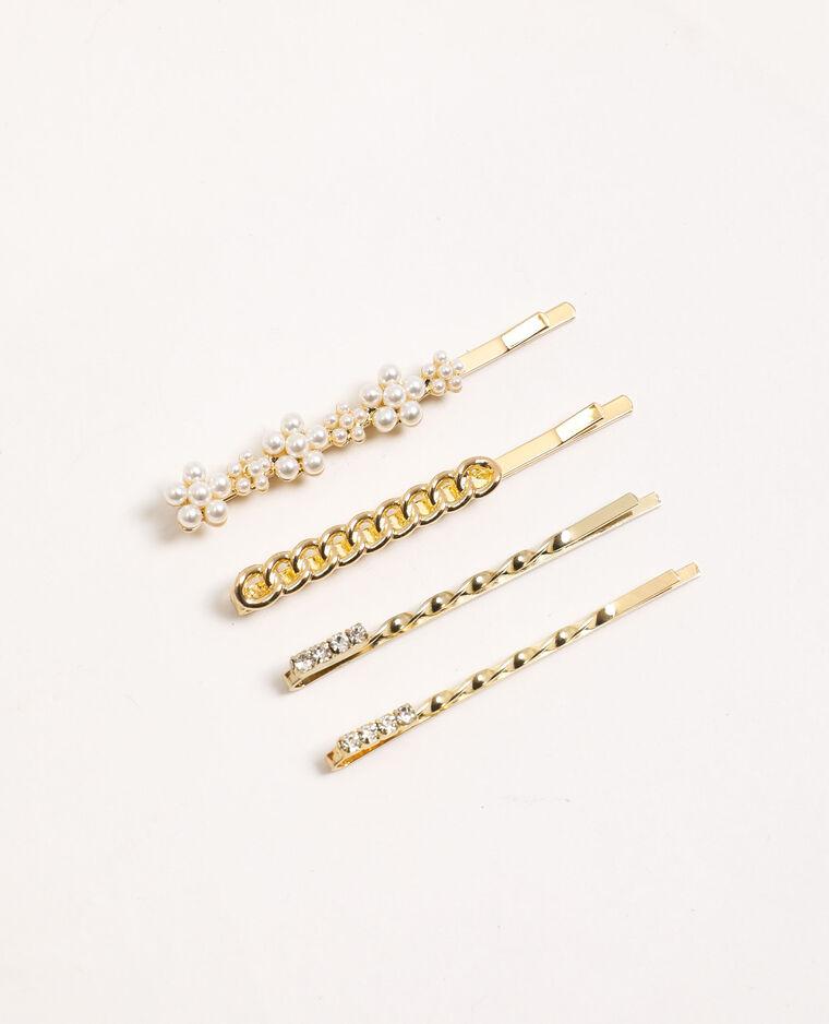 Lot de 4 barrettes à bijoux doré