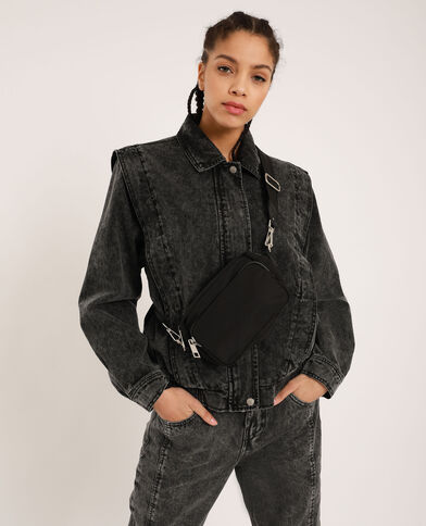 Veste en jean délavée gris délavé