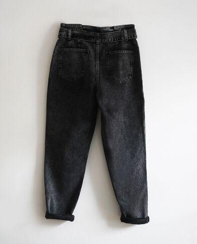 Jean mom acid wash gris