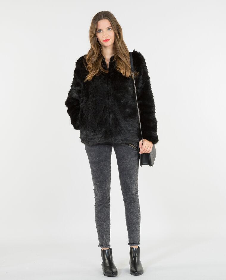 Manteau fausse fourrure noir