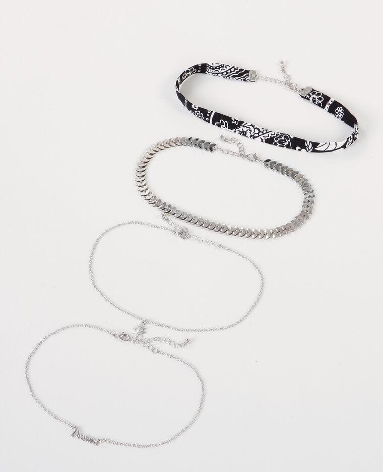 Colliers chokers bohèmes gris argenté