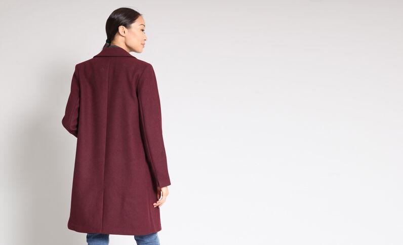 Manteau bordeaux femme ceinture