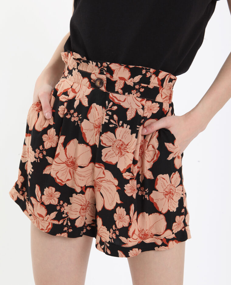 Short à fleurs noir