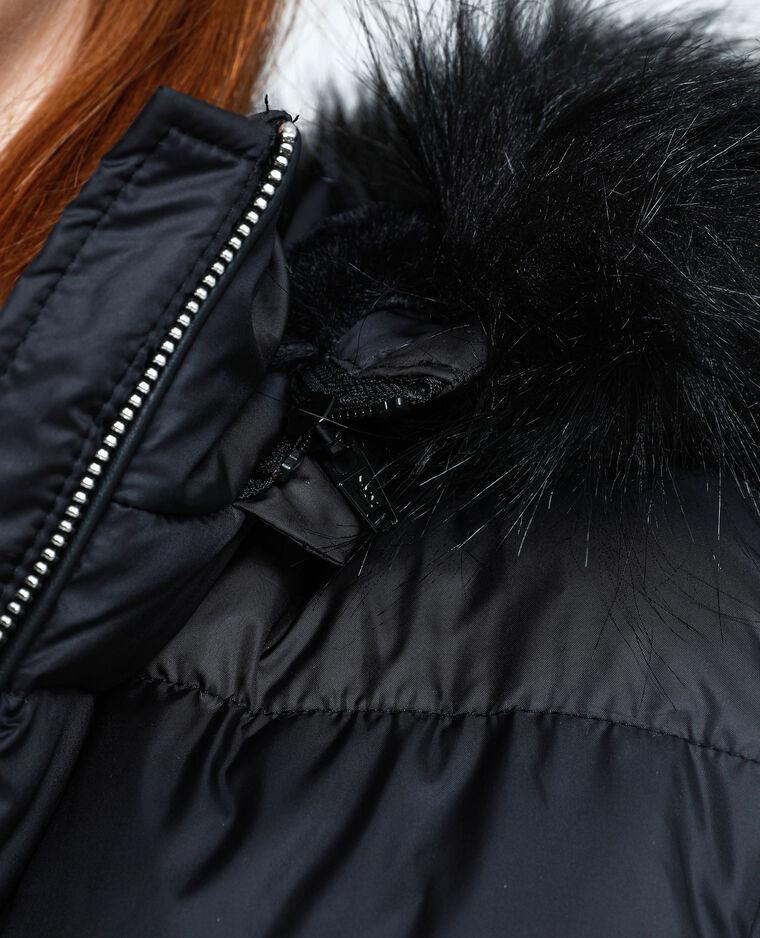 Doudoune longue à capuche noir