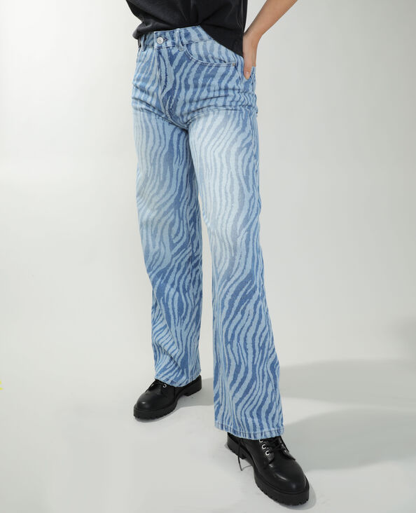 Jean straight high waist zébré bleu denim